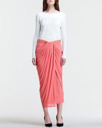 Helmut Lang Drape-Front Midi Skirt
