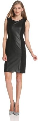 Anne Klein Women's Faux-Leather Panel Sheath Dress