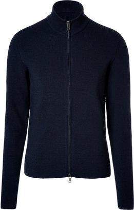 Jil Sander Navy Ribbed Wool Zip Cardigan