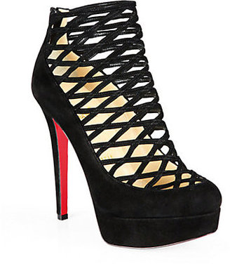 Christian Louboutin Berlinissimo Suede Cage Platform Ankle Boots