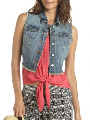 Charlotte Russe Dark Wash Denim Vest