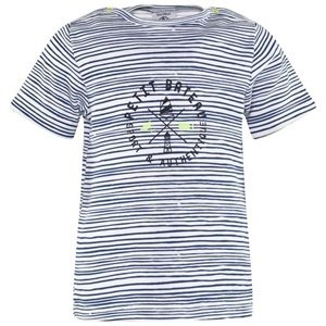 Petit Bateau Blue Stripe Logo Print Tee
