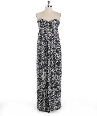 GUESS Strapless Leopard Print Maxi Dress