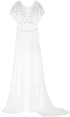 Temperley London - Willow Floral-appliquéd Embellished Silk Gown - White $4,000 thestylecure.com