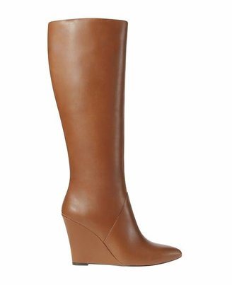 Ann Taylor Claudia Tall Leather Wedge Boots