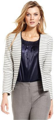 Kasper Striped Open-Front Jacket