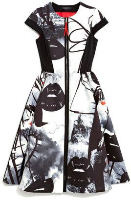Giles Atom Age Printed Neoprene A-Line Dress
