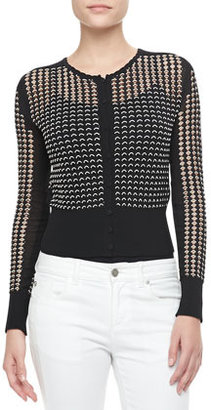Alexander McQueen Bicolor Scalloped Lace Cardigan