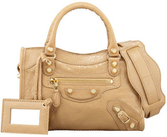 Balenciaga Giant 12 Golden Mini City Bag, Beige Nougat
