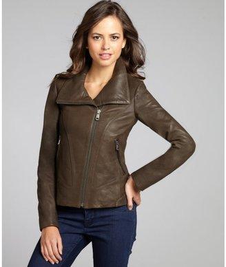 Andrew Marc New York dark olive leather asymmetrical knit sleeve zip jacket