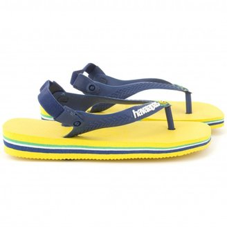 Havaianas Yellow and navy flip flops with back-strap