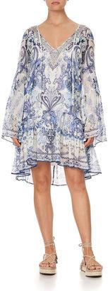 Camilla A-Line Paisley-Print Gathered Panel Dress