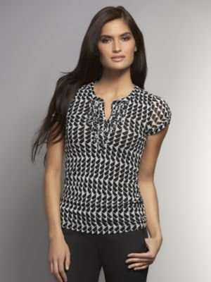 New York & Co. Graphic Print Mesh Ruffle-Front Top
