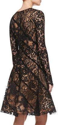 Oscar de la Renta Long-Sleeve Lace Cocktail Dress
