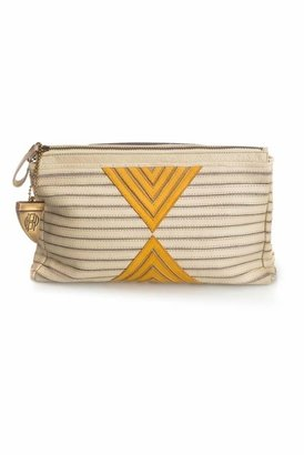 House Of Harlow Riley Oversized Clutch in Cream/Yellow