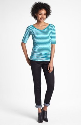 Caslon Elbow Sleeve Side Ruched Tee