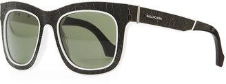 Balenciaga Cracked Square Sunglasses, Black/White