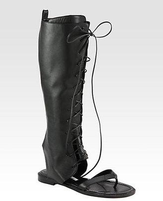 Manolo Blahnik Vestalapla Lace-Up Sandals