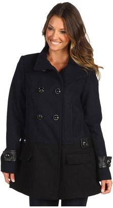 Vince Camuto Double Breasted Colorblock Coat (Navy/Black) - Apparel