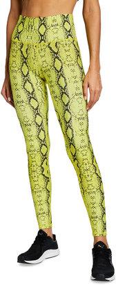 Terez Snakeskin-Print DuoKnit Leggings