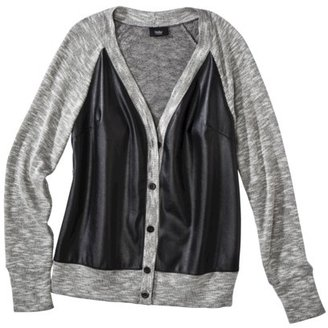 Mossimo Women's Cardigan with Faux Leather Front -Gray