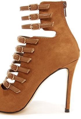 Luichiny Direct On Tan Strappy Pointed Toe Booties