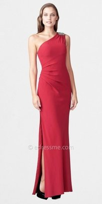 Aidan Mattox One Shoulder Beaded Illusion Neck Draped Gowns