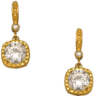 Athena Designs Gold and Square Crystal Drop Earrings