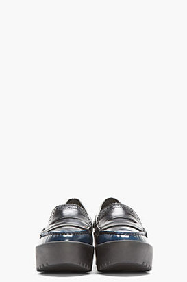Opening Ceremony Navy Buffed Leather Spectator Loafers
