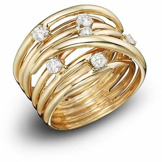 Bloomingdale's Diamond Station Crossover Band in 14K Yellow Gold, .35 ct. t.w. - 100% Exclusive