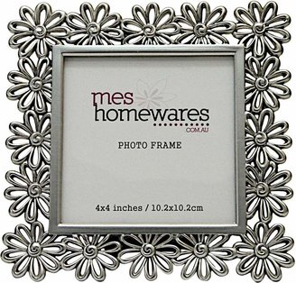 Mes Homewares Square Flower Photo Frame, 4x4, Matte Silver