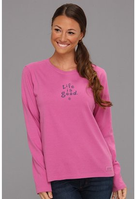 Life is Good Stacked Essential Long Sleeve Crusher Tee (Hot Fuchsia) - Apparel