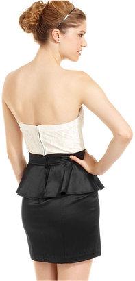 Trixxi Juniors Dress, Strapless Lace Colorblock Peplum
