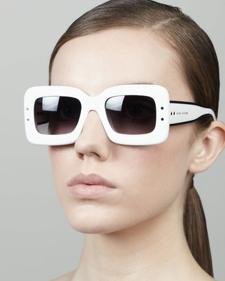 Marc Jacobs Large Square Sunglasses, White