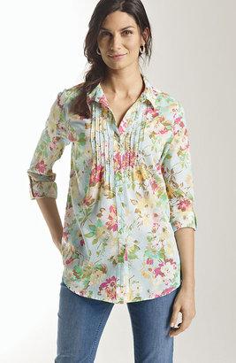J. Jill Cotton pintucked print shirt