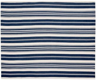 Pottery Barn Oxford Stripe Recycled Yarn Indoor/Outdoor Rug - Blue