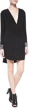 Thakoon Draped Front Beaded-Cuff Silk Dress