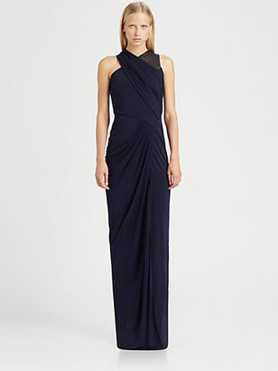 Yigal Azrouel Cut 25 by Leather-Trim Jersey Gown