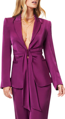 Ramy Brook Ronny Tie-Front Charmeuse Jacket