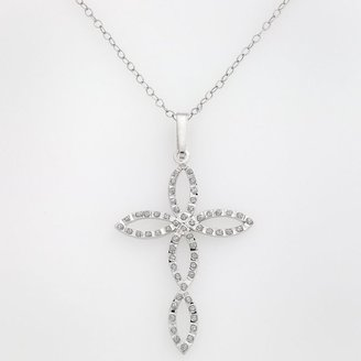 Mystique Diamond TM platinum over silver diamond accent cross pendant
