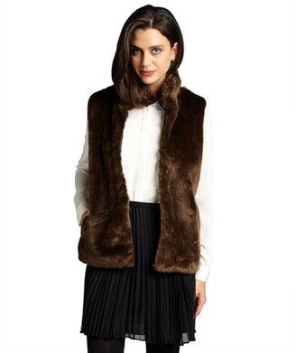 Wyatt natural brown faux fur plush pocketed vest