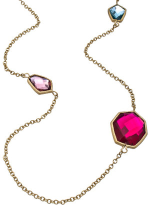 Urban Posh Multi Color Quartz Septagon Station Necklace