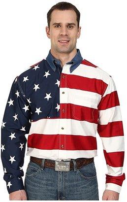 Roper Mens L//S Pieced Texas Flag Shirt