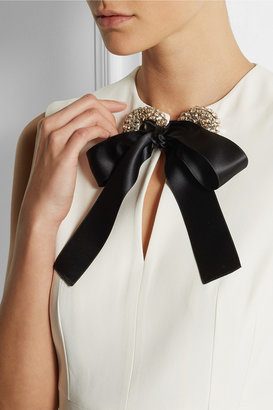 Alexander McQueen Bow-embellished crepe gown