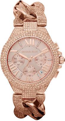 Michael Kors Women's Chronograph Camille Rose Gold-Tone Stainless Steel Bracelet Watch 44mm MK3196