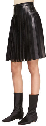 ADAM by Adam Lippes Pleated Sheer-Panel Leather Skirt