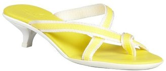 Hogan lemon and white nylon strappy sandals