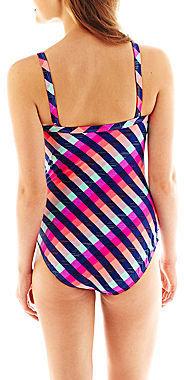 Arizona Check Print Shirred-Side 1-Piece Swimsuit - Juniors