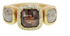 Todd Reed Triple Fancy Square Diamond Ring - Yellow Gold