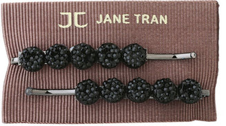 Jane Tran Round Crystal Bead Bobby Pins, Black 1 ea